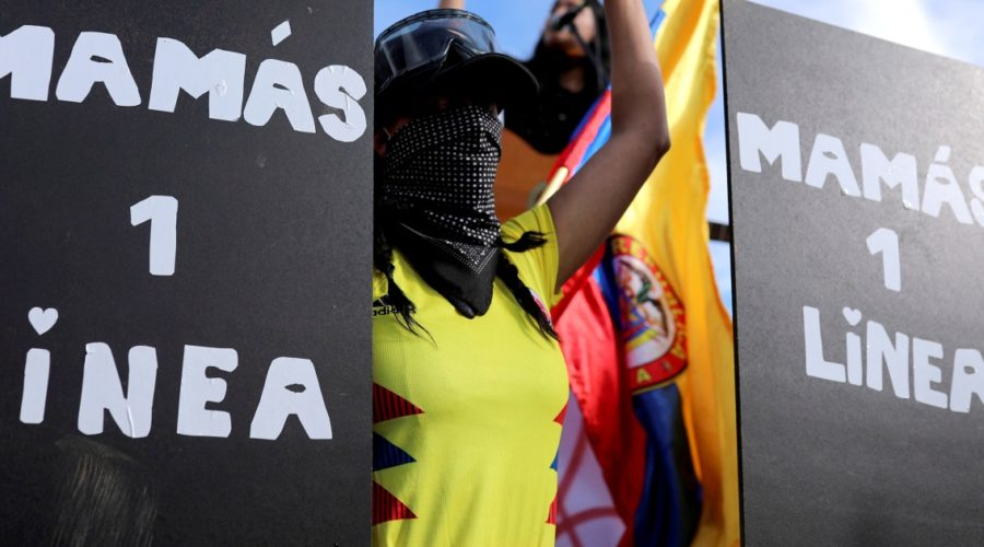 Colombian mothers take part in protests to protect young people from alleged police violence