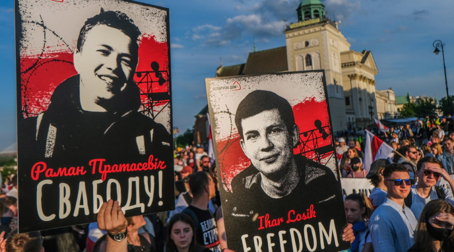 Belarusian opposition denounces video of detained journalist, calls for more US sanctions