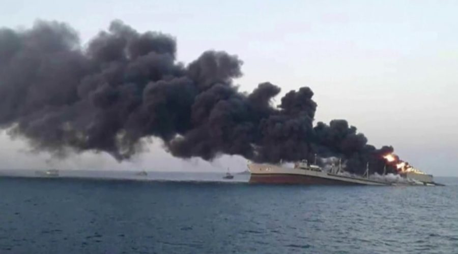 Iran's largest warship sinks in Gulf of Oman fire
