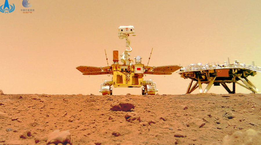 Photos show Chinese rover on dusty and rocky Martian surface