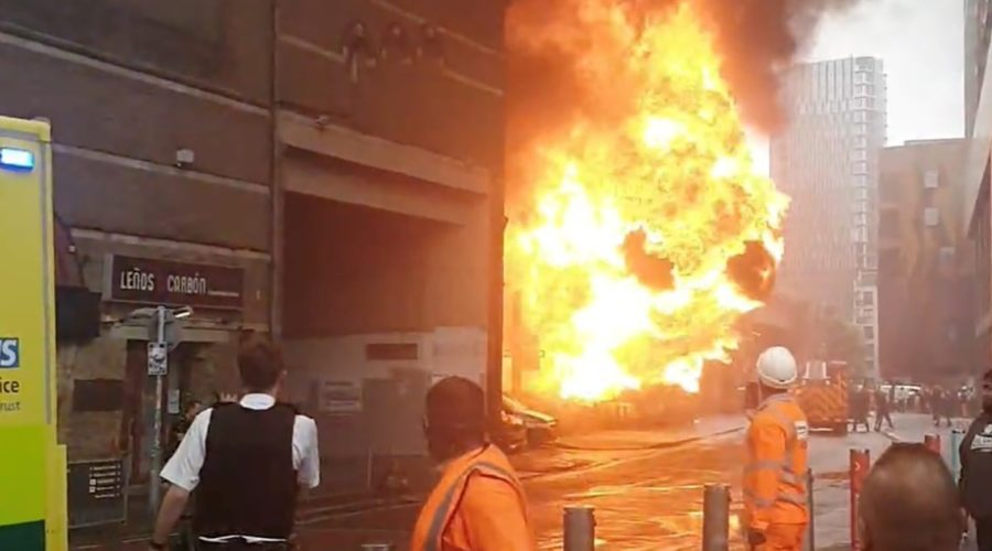 Video shows fireball and black smoke from explosion near London station