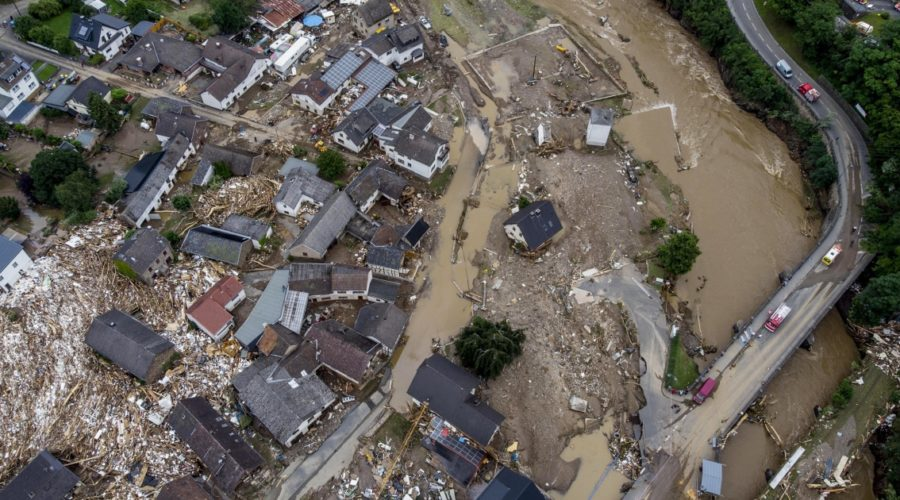 Video of flooding in Germany shows cordoned off houses, overturned cars