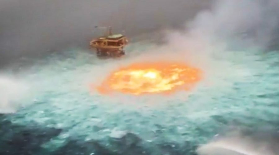 Video shows flames bubbling in Gulf of Mexico after pipeline ruptures