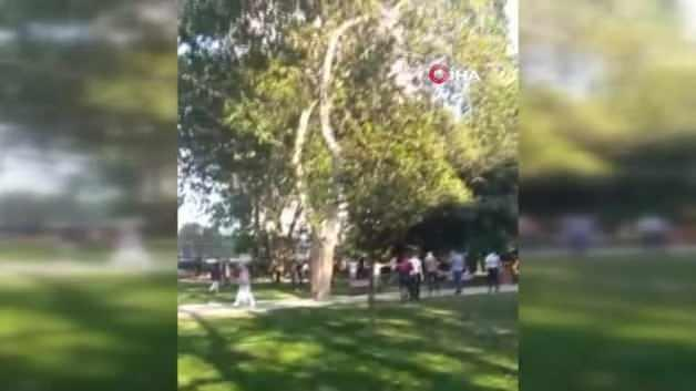 Fight with a stone stick and knife in Gezi Park in front of the camera